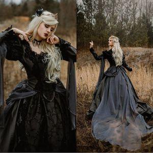 2020 Vintage Moyen Âge gothique robes de mariage d'argent et noir Renaissance fantaisie victorienne Vampires manches longues robe de mariée
