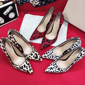 Heißer Verkauf - hochhackige Schuhe im Frühjahr 2019 Horse-hair-Boot mit Leoparden-Print Spitzenleder Extra hohe Absätze 10cm Marke Damenschuhe