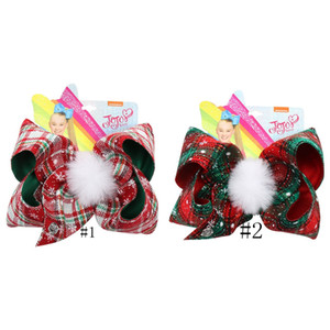 Navidad de la tela escocesa de la horquilla de 7 pulgadas JOJO Bowknot Barrette niños con Pompones Kids Boutique grandes pinzas de pelo del arco de pelo de las muchachas Pin GGA2926