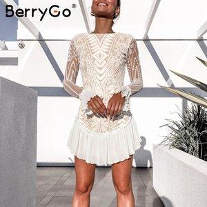 Zarif yüksek bel beyaz elbise kadınlar BerryGo Geometrik ofis bayan sonbahar parti elbise Seksi içi boş dışarı kollu dantel karıştırdı