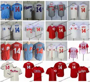 Vintage Expos Pete Rose Baseball-Shirts Günstige White Blue # 14 Peter Rose Mens Red genähte Hemden M-XXXL