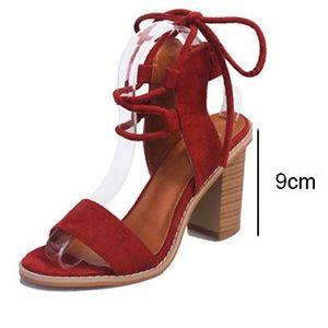 Vente chaude-Femmes Bloc talon Sandales Pompes À Lacets Chunky Sandales Pantoufles épais talon Femme D'été Chaussures Pantoufles