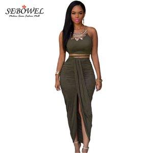Sebowel 2019 Deux pièces Rock Set Femmes Maxi Party Club Hohe Split Crop Top Plissee + Jupes Longues Y19071301