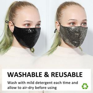 Parlak Sequins Yıkanabilir PM2.5 Yüz Ağız Yeniden kullanılabilir Pamuk Koruma Masker Siyah Anti-Dust Masker Karşıtı Kirliliği Maske Maske