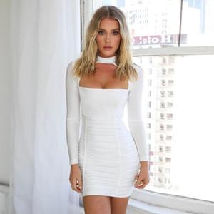 2020 sexy hollow slim pleated hip dress zipper women
