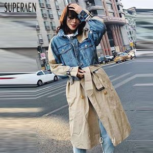 SuperAen Europe Fashion Trench Coat para mujer 2019 Spring New Wild Casual Denim Stitching Ladies Windbreaker