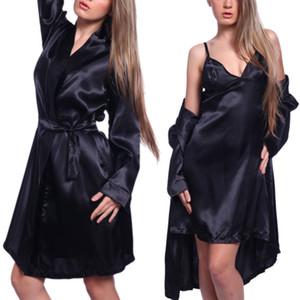 3 Stücke Frauen Sexy Satin Dessous Robe Kleid Höschen Sets Nachtwäsche Nachtwäsche Unterwäsche G-String Spitze Patchwork Robe Kleid Sets