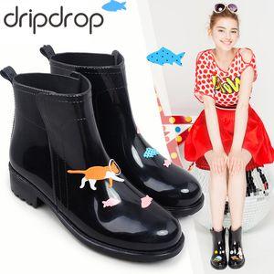 DRIPDROP Rain Boots for Women Waterproof Anti-Slip Rainboots Girls Fashion Rubber Shoes Spaceship Cats Appliques LY191224