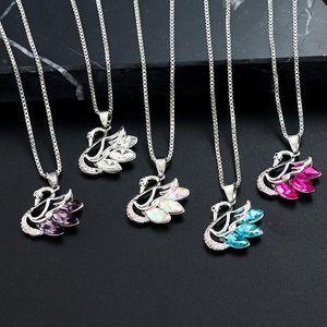 colar de cisne elegante luxo acessórios Colar Little Swan longa simples da cadeia camisola colar de cristal azul da imitação