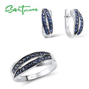 SANTUZZA Ensemble de bijoux pour femmes Bleu zircons Pierres Bijoux boucles d'oreilles Bague argent 925