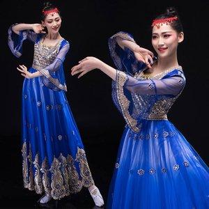 usure scénique Inde ouïgoure Styles ethniques Costume femme vêtements de danse folklorique Elegent Lady broderie robe longue bleu