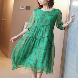 High Quality Green Silk Dress Half Sleeve Floral Print Elegant Chinese Maxi Dresses For Women 2020 Summer Robe femme Plus Size