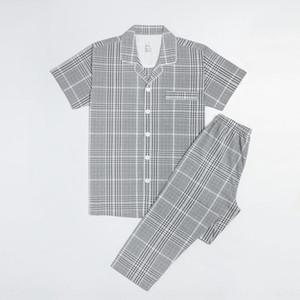 Xia Quanmian MUJI-style unisex short sleeve women's sleepwear Japanese home home pajamas pajamas set couple pajama