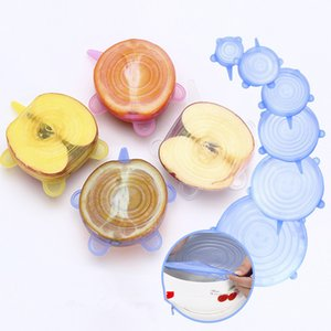 6 Pcs  Set Universal Food Silicone Cover Reusable Silicone Stretch Lids Caps For Cookware Pot Cover Kitchen Accessories