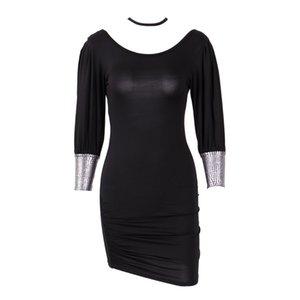 Vestitino donne Nuovo colore nero a maniche lunghe casuale sottile Breve Vestido Femminile Backless Stretch Body Spring Dresses Hot Femme