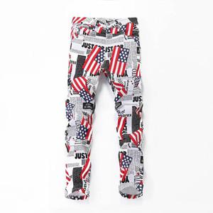 Homens Moda Casual Fino Hip Hop Jeans Calças Lápis americano fresco Carta White Flag Imprimir Plus Size