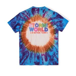 20ss Ins Hot Sorriso camisa Travis Stormi Party 2 Mundial Scott Blue Face Tie Dye Tee Skate Mens designer de t Mulheres Rua Casual Camiseta
