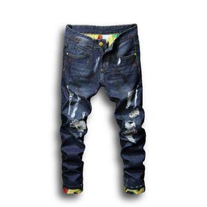 Moda para hombre pantalones vaqueros azul claro flaco roto jeans destruido agujeros rasgados cremallados rectos pantalones denim streetwear hole denim