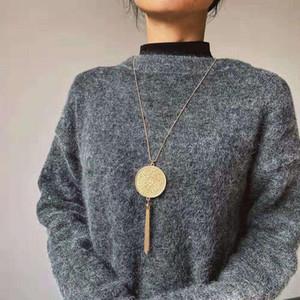 kadınlar lüks tasarımcı saçak uzun zincirli kolye altın püsküllü kazak zincirleri takı aşk hediye için altın maya diski püskül kolye kolye
