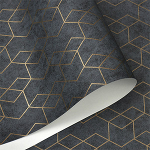 Dark Grey Geometric Wallpaper Roll Black Gray Wall Paper Modern Design Bedroom Living Room Background Home Wall Decor