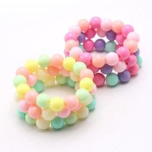 Moda infantil artesanais contas de acrílico jóias pulseiras diy para crianças meninas pulseiras elásticas presente bonito do bebê