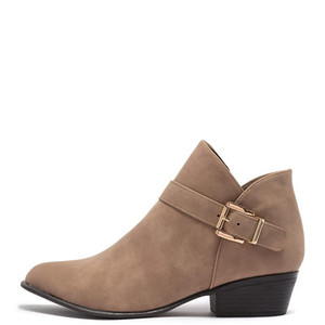Boots Med Chunky Heels Booties Woman Round Toe Zipper Large Size 13 16 Ladies Winter Fashion Buckle Strap Shoes