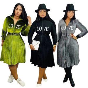 one piece dress женские платья с длинным рукавом плиссированные платья партии вечер клуб dress мода Письмо печати dress женская одежда klw2975