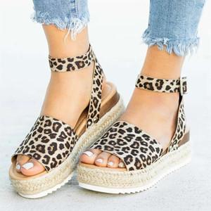 Plus Size 43 Sandali da donna con fibbia Scarpe da donna Sandali con plateau leopardati 2019 Scarpe da donna Donna Sandalie Tenis Feminino Creeper