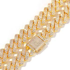 14 milímetros Cadeia cubana Micro Pave Cubic Zircon Luxury Jewelry Bling Bling completa para fora congelado Hip hop