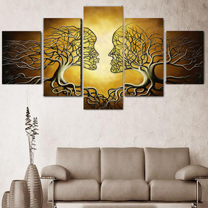 5 Panels Modern Decor Pictures Abstract Love Kiss Lady Tree Painting Prints Home Office Wall Art Decor Bedroom Living Room Decor No Frame