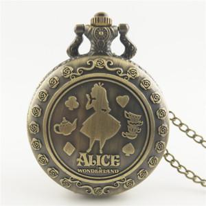 grande alice unisex bronzo retrò bella ragazza signore signore lunga catena FOB orologi da tasca all'ingrosso orologi da regalo al quarzo nacklace