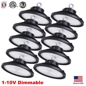 DLC ETL 150W 200W 240W Regulável UFO LED de alta Bay Luz 5000K IP65 LED AC85-265V Flood Luz de alumínio Mining Highbay armazém Lamp