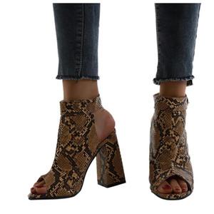 Mode femmes de talons hauts Snake-grain épais talon plateforme Chaussures Femme Plus Size Toe Retour ouverte Chaussures pour femmes Pompes Buty damskie # 20