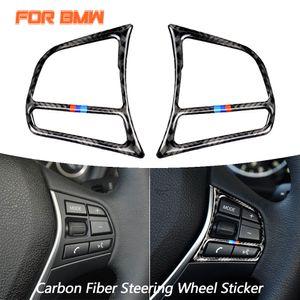 Karbon Elyaf Araç İç Direksiyon Düğmeler Çıkartma Oto Aksesuarları için BMW 1 2 3 4 Seri 3GT F20 F21 F30 F32 F34