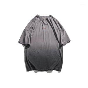 Vestuário Mens Designer pulôver camisetas Crew Neck Tops Manga Curta Mens Verão Gradient Letter Color Print