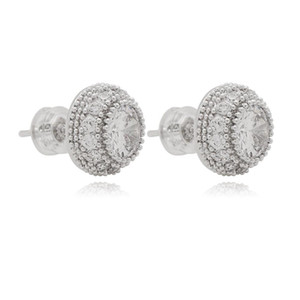 High Quality Fashion 18K Gold Plated Jewelry Pave Round Shape CZ Diamond Stud Earrings For Men And Women