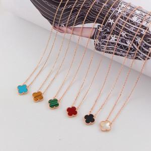 Vier-Blatt-Klee-Halskette für Damen Empfindliche Frauen Halskette Marke Halskette für Fashion Party 18K Rose Gold Claviclekette
