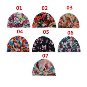 2019 Yeni Moda Bebek Çiçek Baskılı Kapaklar Yumuşak Pamuk Hint Kulaklar Kapak Şapkalar Çocuk Kız Erkek Turban Knot Başkanı Sarar Bebek Çocuklar Beanie A190