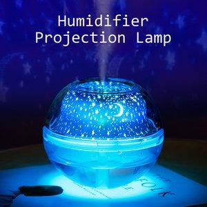 La aromaterapia nuevo cristal de la lámpara de proyección USB humidificador creativo Noche de luz LED de colores de color del proyector del hogar Mini Silencio humidificador