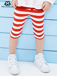 Mini balabalaGirls leggings 2019 summer new children baby striped thin section safety pants Y200704