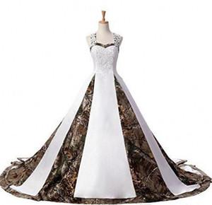 Neueste A-line Schatz Camo Satin Brautkleider 2020 Lace Up Plus Size Hochzeit Brautkleider