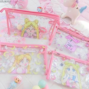 1PCS Sailor Moon desenhos animados Anime Transparente Waterproof Zipper Bolsa de canto Bio estrelas gêmeas Meninas Viagem Cosmetic Bag Ferramenta Maquiagem