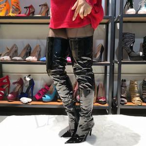 LAIGZEM 2019 СТИЛЬНЫЕ Сапоги женские выше колена Стилет на высоком каблуке Бедра Высокие сапоги Черные блестящие Botas Feminina Botines Mujer Большой размер 4-15