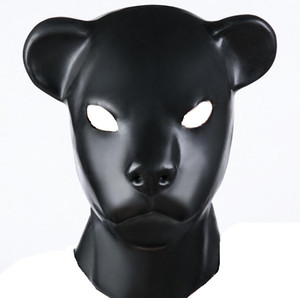 Hot Sex role playing New male female Soft latex bondage leopard head Mask Headgear Hood Adult BDSM toys game set