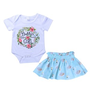 Infant Baby Girls Clothes Suits White Romper Daddy Floral Tops+Ruched Blue Swan Print Skirt Bebe Girls Clothes Sets