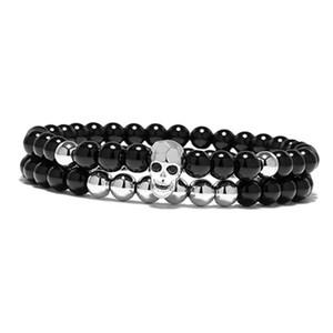 2 Schichten Punk Metal Skull Devil-förmigen Perlen Elastic Bracelet Black Onyx Silber Gold Zubehör für Männer