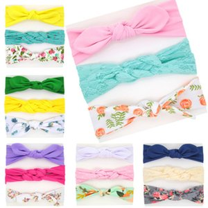 European and American children's hair accessories set series baby girl stretch printed hair band three-piece Headbands headwear wholesale
