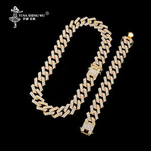 Hip Hop 1Set 20MM Gold Heavy Full Iced Out Paved Rhinestones Cuban Chain CZ Bling Rapper Necklaces For Men Jewelry Gifts Fashion