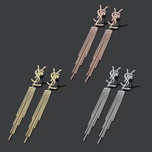 2020 moda prata Titanium Steel subiu banhado a ouro extra longo borla mulheres cadeia carta dangle brincos casamento jóias meninas amo presente