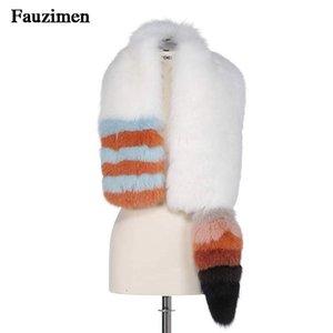 Celebridade Runway Inverno Estilo Neck Warmer Scarf Luxury Real Fur Scarf Longo Com gola de pele Moda Mulheres da cauda do Wraps